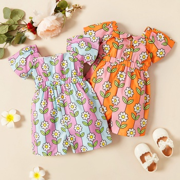 1pc Baby Girl Short-sleeve Floral Wide trousers Jumpsuits