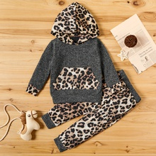 2-piece Baby / Toddler Girl Leopard Pattern Hoodie and Colorblock Pants Set