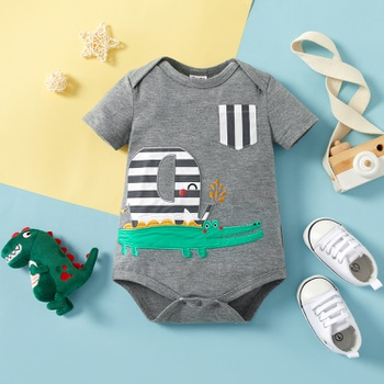 1pc Baby Boy Short-sleeve Cotton  Sweet Stripes&Animal Rompers & Bodysuits