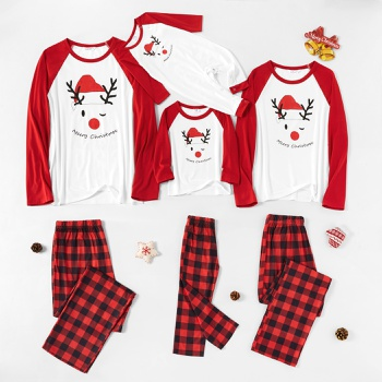 Christmas Cute Deer Wearing Christmas Hat Plaid Family Matching Pajamas Sets (Flame Resistant)
