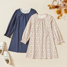 Kids Girl Polka Dots Floral Allover Dress