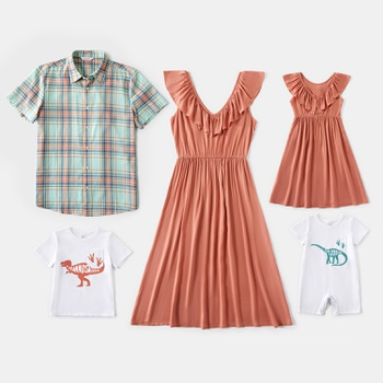 Mosaic  Family Matching Spring Cotton Sets(V-neck Dresses - Plaid Short Sleeve Shirts - Dinosaur Rompers)