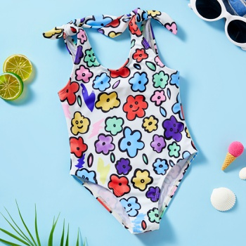 Baby Girl Floral Print Tank Swimsuit