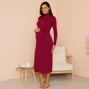 Maternity Round collar Plain Burgundy Midi Slip Long-sleeve Dress