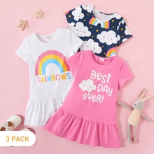 3-piece Rainbow Cloud Short-sleeve Dress