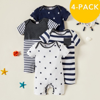 4-pack Baby Boy Stripes and Stars Bodysuits Set