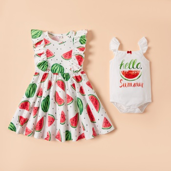 Mosaic Watermelon Print Flounce Decor Sibling Sets