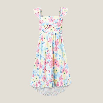 Kids Floral Allover Bowknot Dress