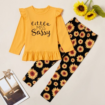 Stylish Letter Print Ruffled Longsleeves Tee and Sunflower Allover Print Pants Set