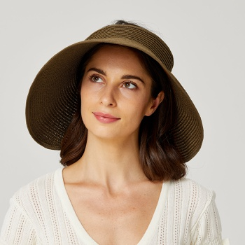 (11Colors)Solid Straw Roll up Hat Visor Beach Sun Hat