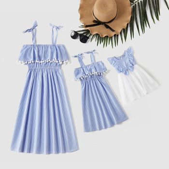 Striped Ruffle Off-shoulder Dresses for Mommy and Me