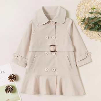 Trendy Solid Button Strappy Lapel Collar Coat