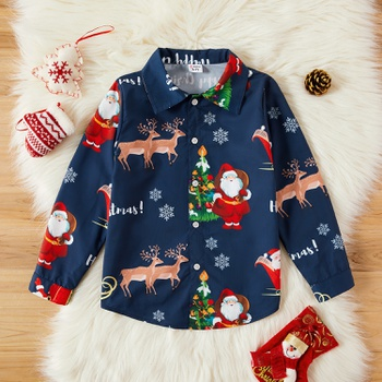 Kid Boy Santa Claus & Elk Shirt