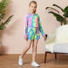 Kid Girl Tie Dye Sweatshirt and Shorts Set