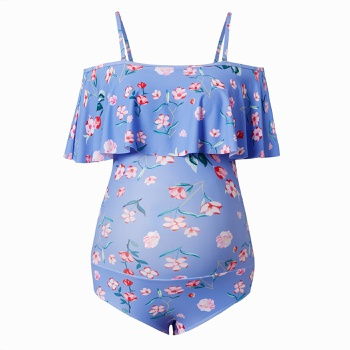 Maternity 1pcs Floral full print Blue one piece