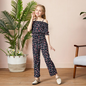 Kid Girl Floral Off Shoulder Top & Pants Set