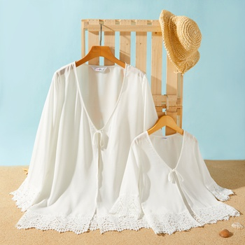 Chiffon Stitching Lace Matching White Cover Up