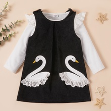 Toddler Girl Animal Swan Pattern Strap Ruffled Long-sleeve Suit-dress