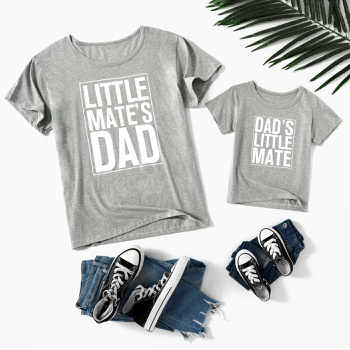 Letter Print Grey Cotton Short Sleeve T-shirts for Dad and Me