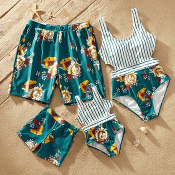 Stripe and Floral Print Family Matching Swimsuits