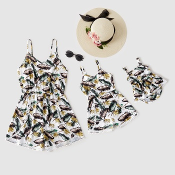 Leaves Print Matching White Sling Shorts Rompers