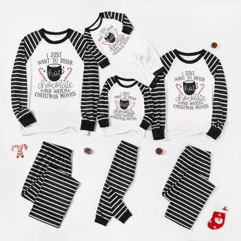 Family Matching Letter Print Striped Christmas Pajamas Sets (Flame Resistant)