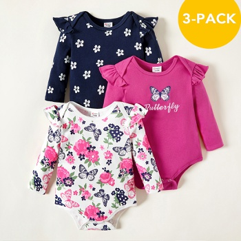 3-pack Baby Floral Butterfly Bodysuits Set