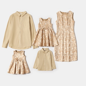 Mosaic Family Matching Golden Formal Sets(Buttocks Dresses - Solid Button Front Shirts - Rompers)