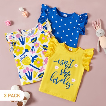 3-pack Letter Floral Toddler's Tee