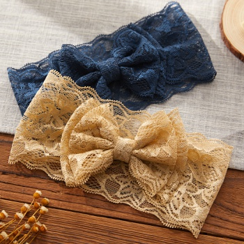 Baby Pretty Bowknot Lace Solid Headband