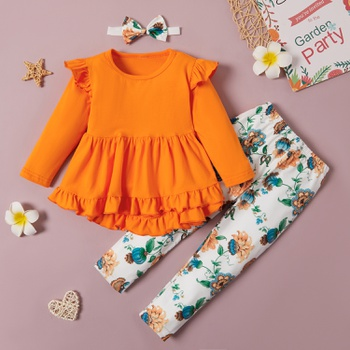 2-piece Baby / Toddler Flounced Solid Top and Floral Pants Set