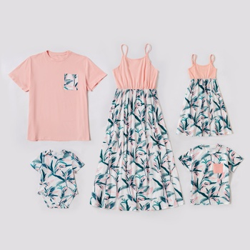 Floral Leaf Print Family Matching Sets(Tank Dresses - T-shirts - Rompers)