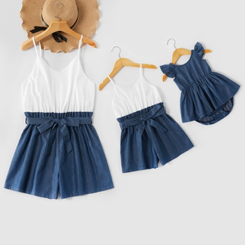 White and Navy Colorblock Matching Sling Shorts Rompers