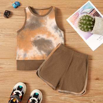2-piece Toddler Boy Tie Dyed Casual Camisole and Shorts Set