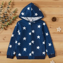 Kid Unisex Stars Print Hooded Coat