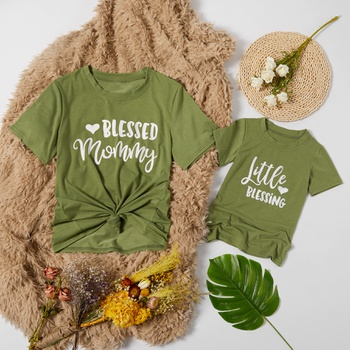 Bless Letter Print T-shirts for Mom and Me in Summer
