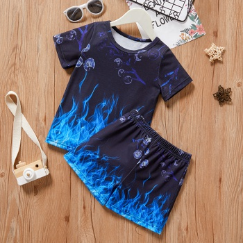 2-piece Toddler Boy Chic Print Tee and Shorts Set