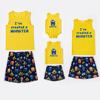 Family Monster Letter Print Matching Pajamas Set(Flame Resistant)