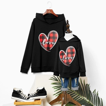 Love Plaid Print Black Sweatshirts for Mom and Me