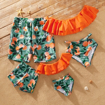 Fruit Oranges Series Family Matching Swimsuits