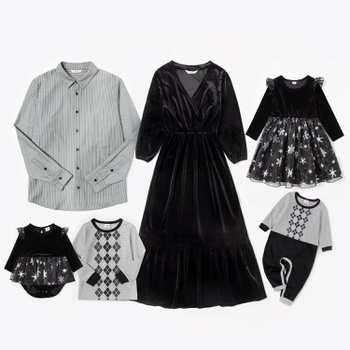 Mosaic Cotton Family Matching Sets in Autumn & Winter(Velvet Dresses - Pinstripe Shirts - Star Mesh Rompers)