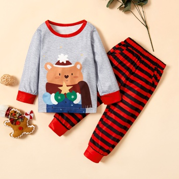 2-piece Baby / Toddler Bear Print Long-sleeve Pullover and Striped Pants Set