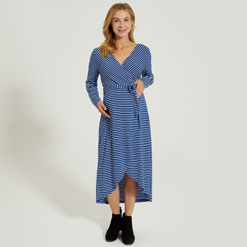 Maternity V-neck Stripes full print Dark Blue Midi Long-sleeve Nursing Dress