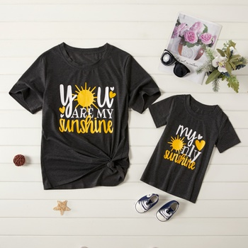 """""""YOU ARE MY SUNSHINE"""" Letter Print Tops for Mom and Me"""