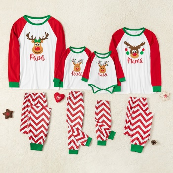 Family Matching Cute Deer Top and Wave Pants Christmas Pajamas Sets (Flame Resistant)