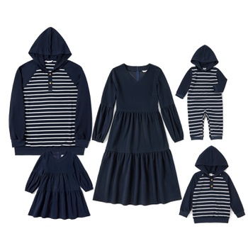Mosaic Family Matching Dark Blue Sets(V-neck Dresses - Hoodies Sweatshirts - Rompers)