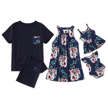 Deep Blue Floral Print Family Matching Tops