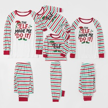 Family Matching Elf Letter Print Striped Christmas Pajamas Sets (Flame Resistant)