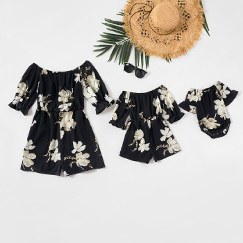 Mommy and Me Lily Print Midi-sleeve Off-shoulder Rompers