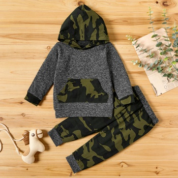 2-piece Baby / Toddler Boy Camouflage Hoodie and Colorblock Pants Set